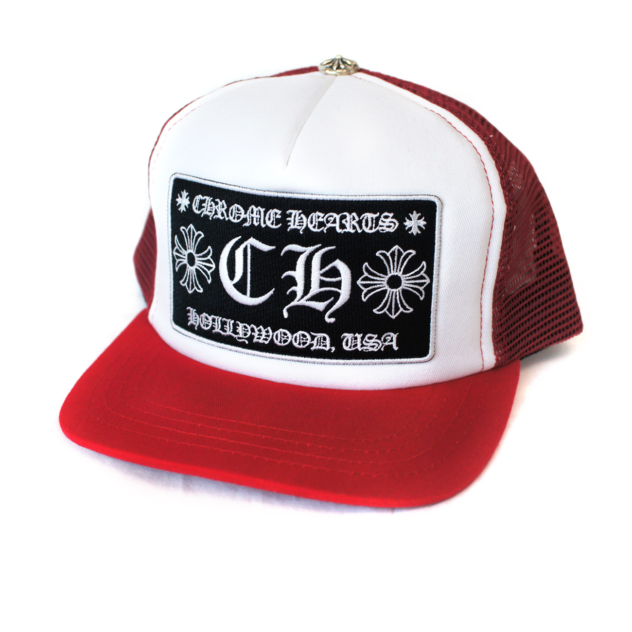 043a304e7de63 CHROME HEARTS CH HOLLYWOOD trucker cap Red