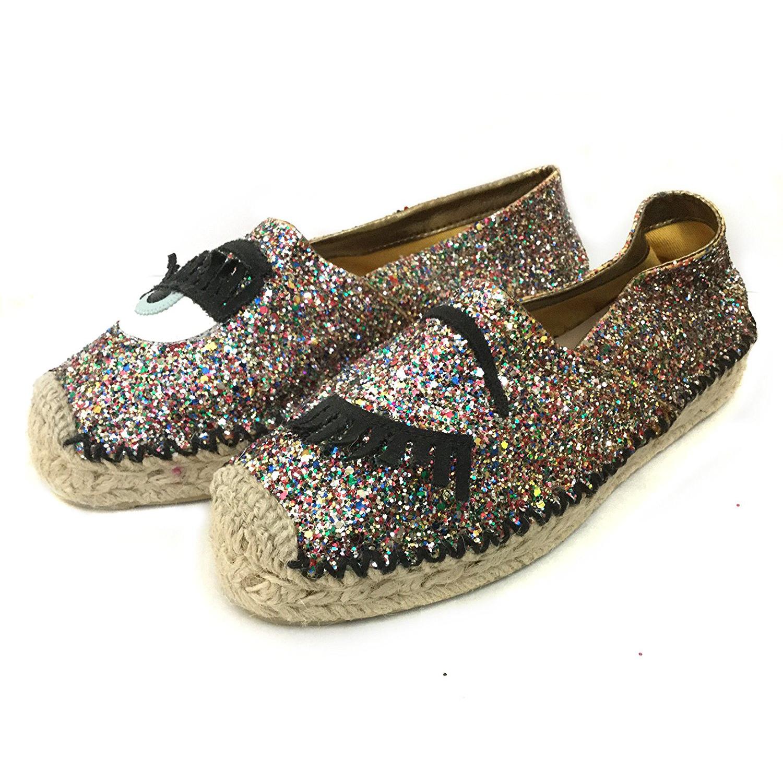 48ad7ea3fbc1 Chiara Ferragni Espadrilles Flat Glitter Shoes Multicolor 2017SS Size37