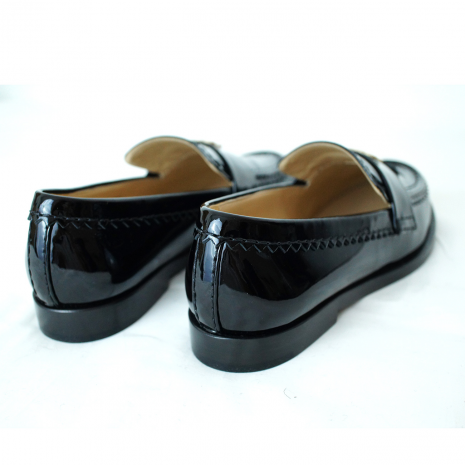 13bf68d4d2f CHANEL Black Patent Leather Rounded-Toed Loafer with Calfskin ...