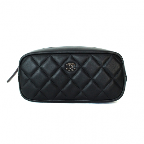 9cd9dcefdb6ec7 CHANEL Cosmetic Pouch Quilted Black Lambskin Leather Silver CC, New ...